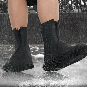 Silicone Slip on Waterproof Boots Condom (Black)