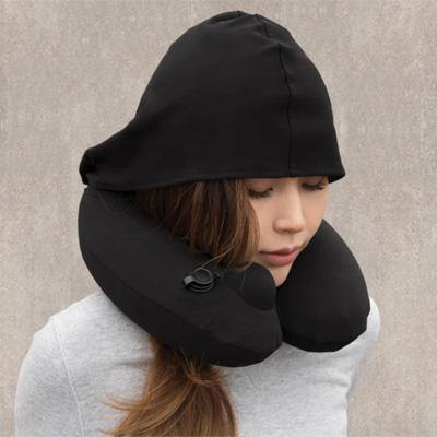 Travelmall - 3D Inflatable Neck Pillow w. Hood - Black-Tactical.com