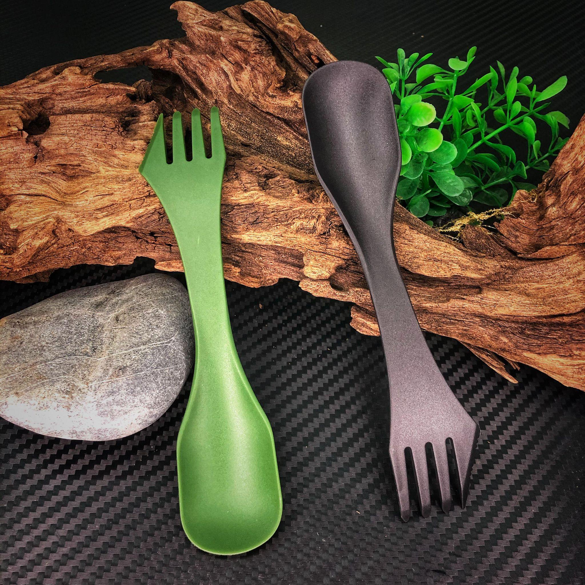 Polymer Spork V2 (Knife, Fork, Spoon) - Black-Tactical.com