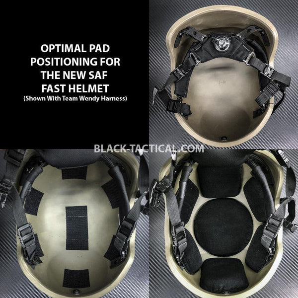 Black Stealth - Helmet Padding for SAF Helmet (GEN 2) - Black-Tactical.com