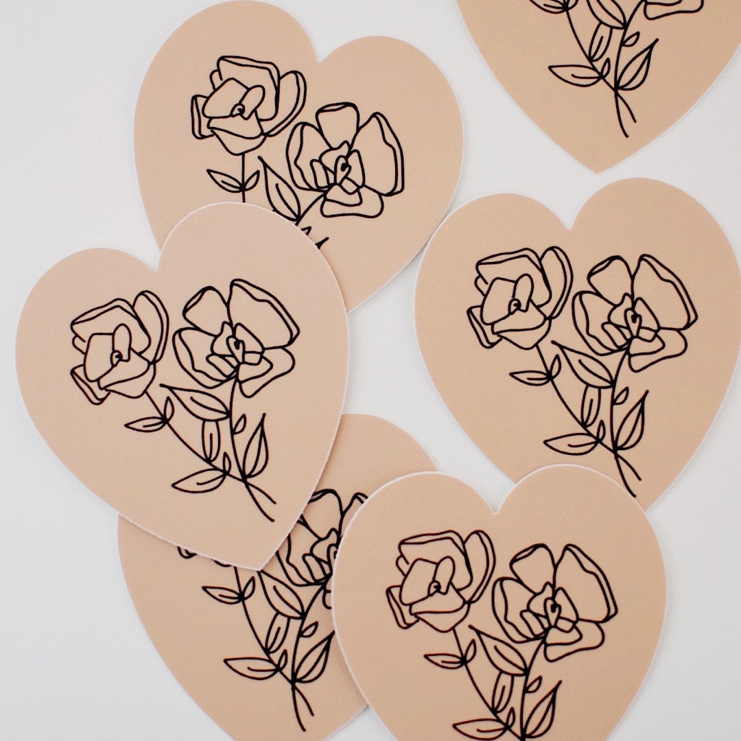 Simple Floral Heart Sticker