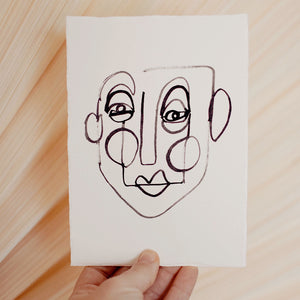 Face Line Drawing - Roman Print