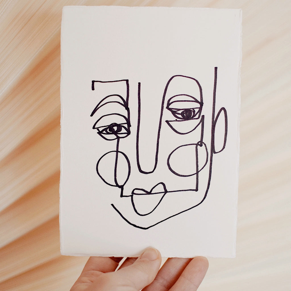 Face Line Drawing - Herb Print