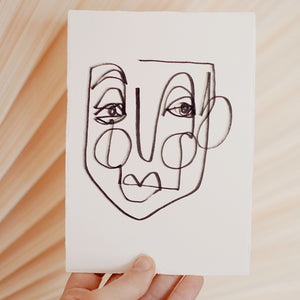 Face Line Drawing - Lylah Print - Off White