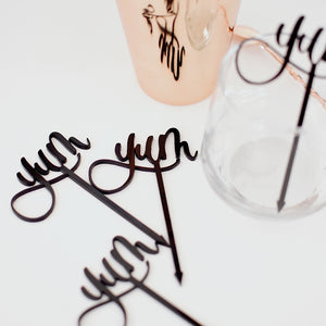 Yum Acrylic Garnish Picks - Set of 4