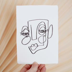 Face Line Drawing - Lizzie Print - White