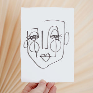 Face Line Drawing - Mabel Print - White