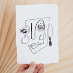 Face Line Drawing - Margarita Print - White