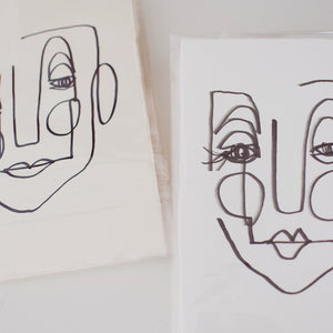 Face Line Drawing - Celeste Print - White