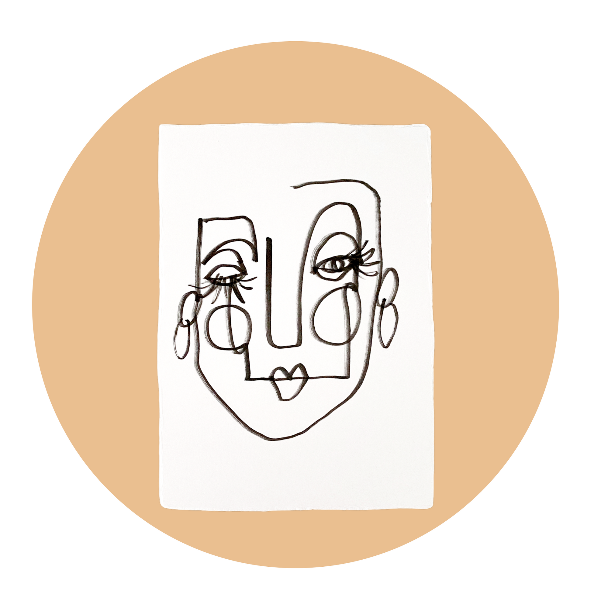 Face Line Drawing - Maisey Print - White