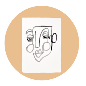 Face Line Drawing - Wilson Print - White