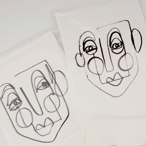 Face Line Drawing - Carter Print - Off White