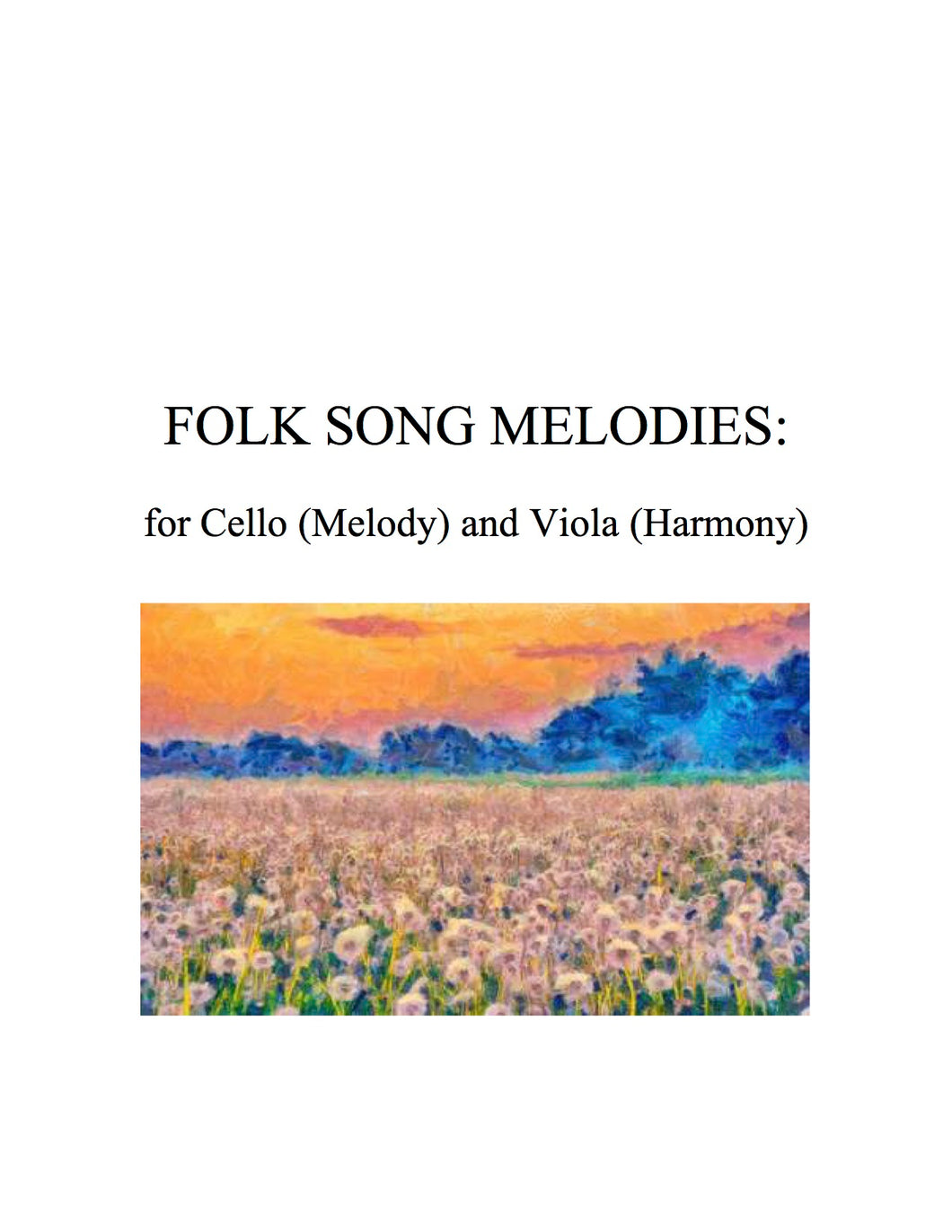 024 BUNDLE - Folk Song Melodies for Cello (Melody) and Viola (Harmony) Twinkle - Etude