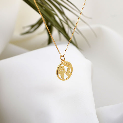 gold plated world atlas necklace