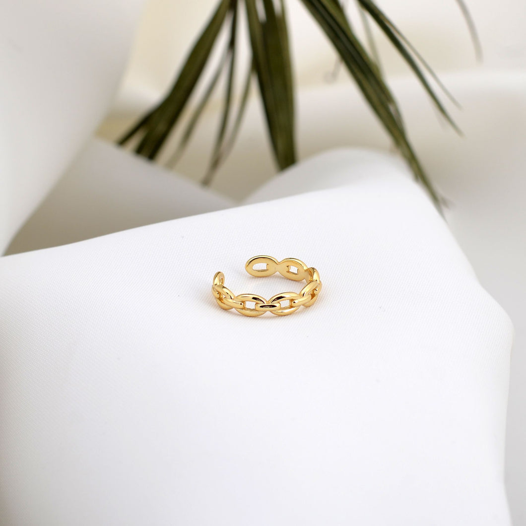 gold plated silver chain ring