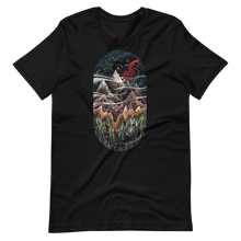 Load image into Gallery viewer, Ecosystem with mountains, red squid and sky with animals Short-Sleeve Unisex T-Shirt