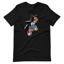 Load image into Gallery viewer, Graffiti of colorful ghosts peeking out from broken wall Short-Sleeve Unisex T-Shirt