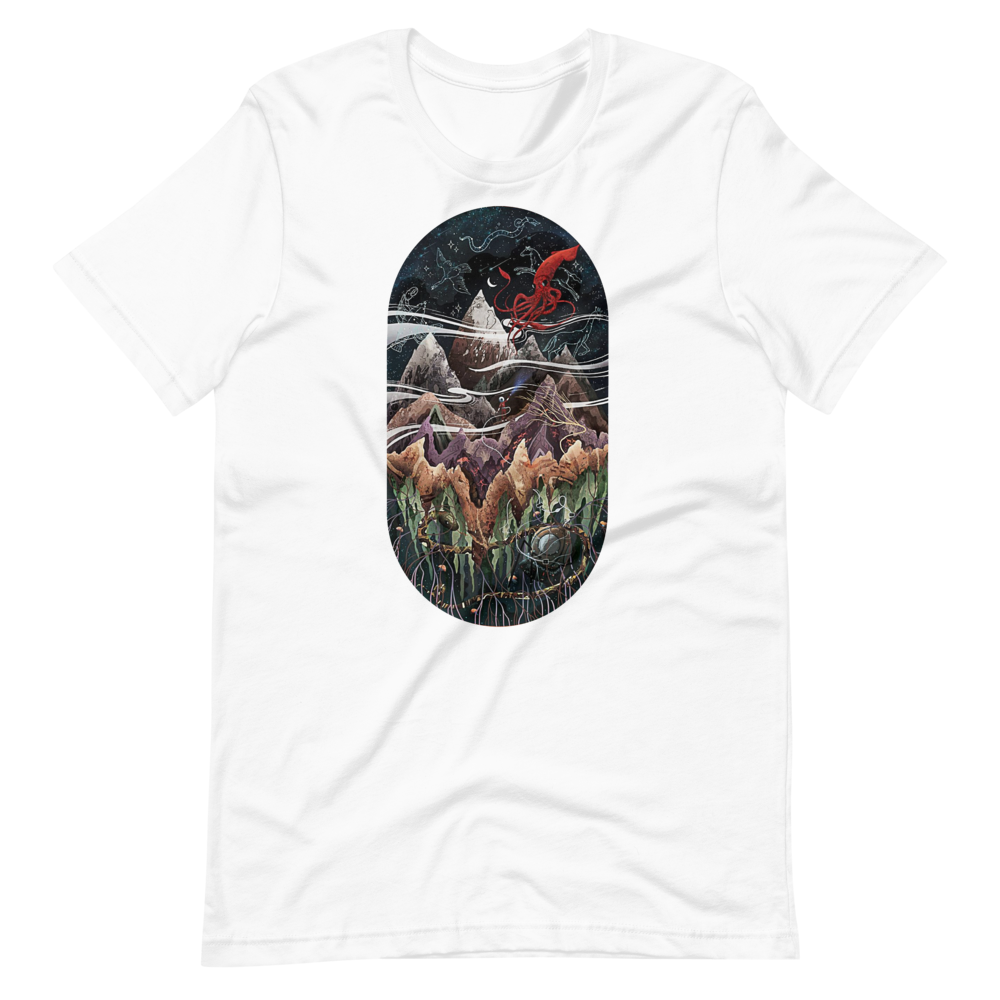 Ecosystem with mountains, red squid and sky with animals Short-Sleeve Unisex T-Shirt