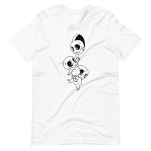 Load image into Gallery viewer, Chain of funny skeletons falling down Short-Sleeve Unisex T-Shirt