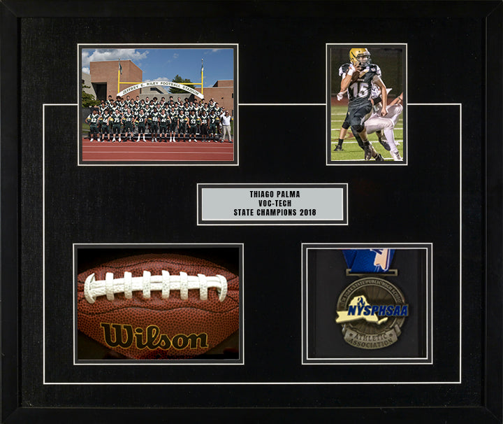 "20"" x 24"" frame includes 8"" x 6"" football team picture, 4"" x 6"" individual football player picture, a piece of an authentic Wilson football, and a state tournament winning medal."