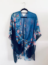 Load image into Gallery viewer, Two Tone Blue Floral Sheer Kimono