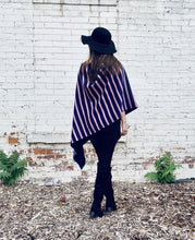 Load image into Gallery viewer, Reversible Blue and Pink Stripe Cashmere Feel Draped Shawl
