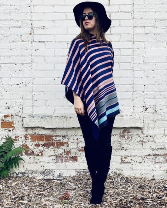 Reversible Blue and Pink Stripe Cashmere Feel Draped Shawl
