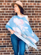 Load image into Gallery viewer, Blue and Pink Floral Light Draped Shawl