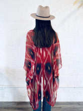Load image into Gallery viewer, Red and White Ikat Sheer Kimono
