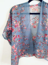 Load image into Gallery viewer, Denim Blue Floral Sheer Cropped Kimono
