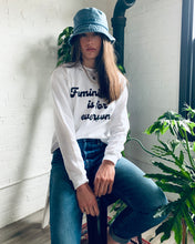 Load image into Gallery viewer, Feminism is for Everyone White Crew Neck Crop Sweatshirt