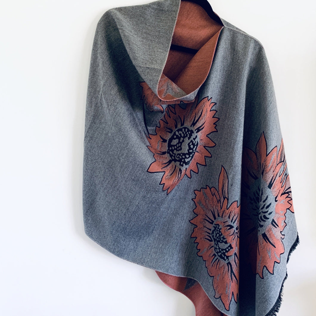 Reversible Light Grey and Pink Floral Cashmere Feel Draped Shawl