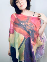 Load image into Gallery viewer, Large Poppy Multi Floral Watercolour Light Draped Shawl