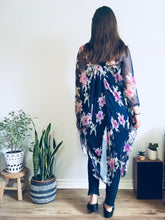 Load image into Gallery viewer, Navy Blue and Pink Flower Sheer Kimono