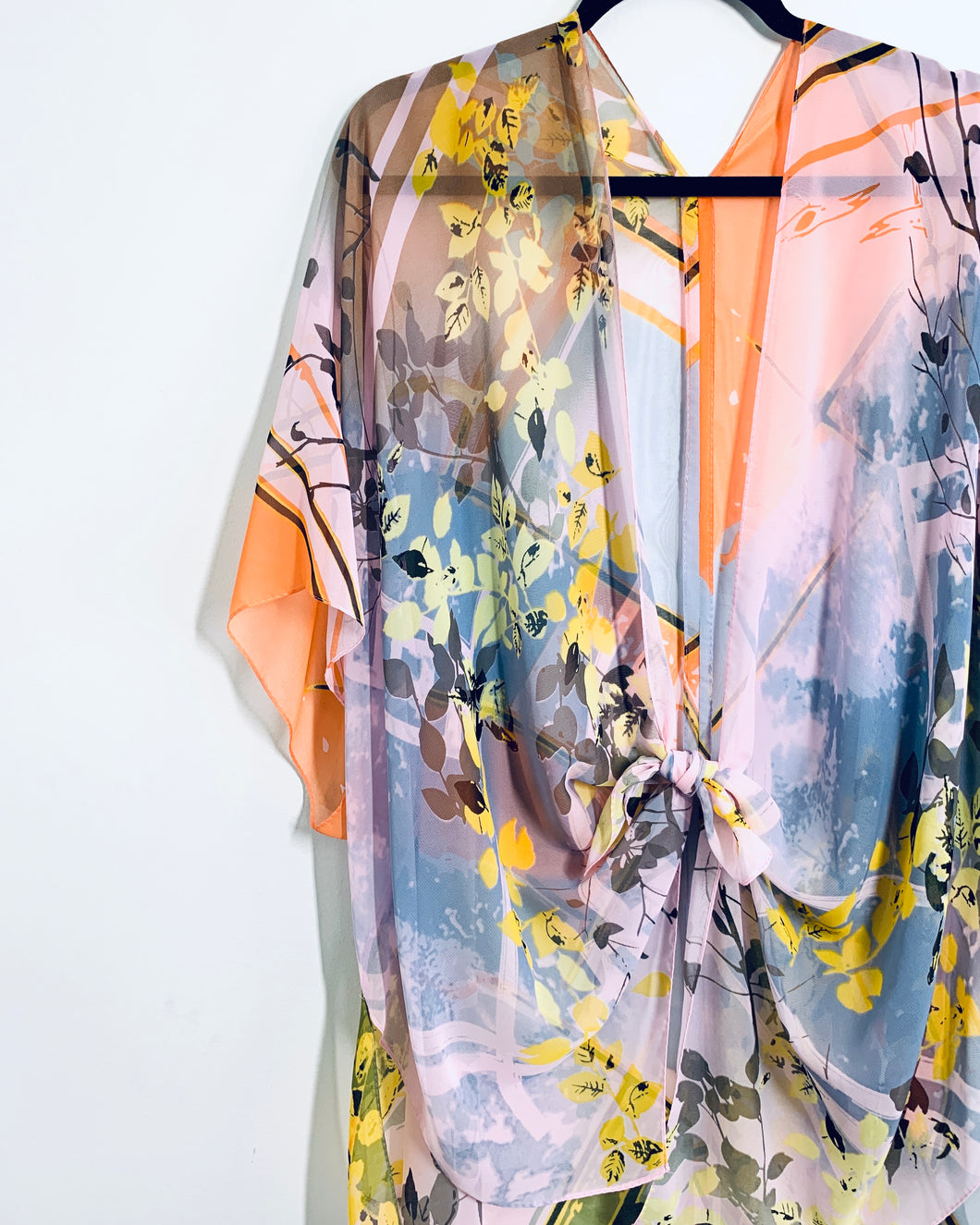 Pink Abstract Floral Sheer Kimono