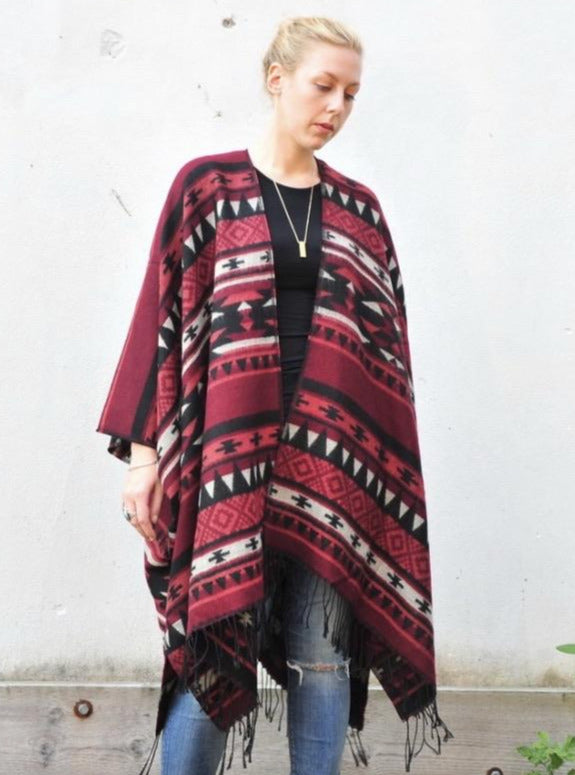 Red and Black Southwestern Print Blanket Poncho