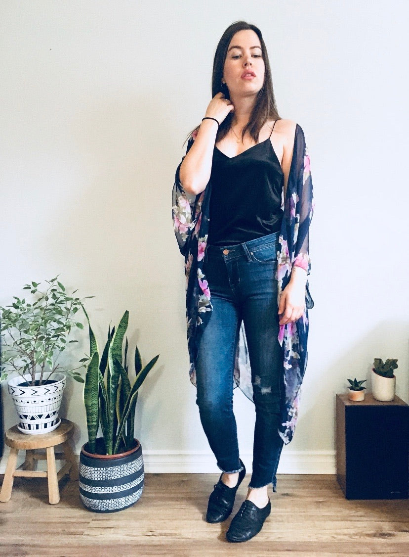 Navy Blue and Pink Flower Sheer Kimono