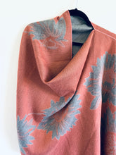 Load image into Gallery viewer, Pink and Light Grey Floral Cashmere Feel Draped Shawl