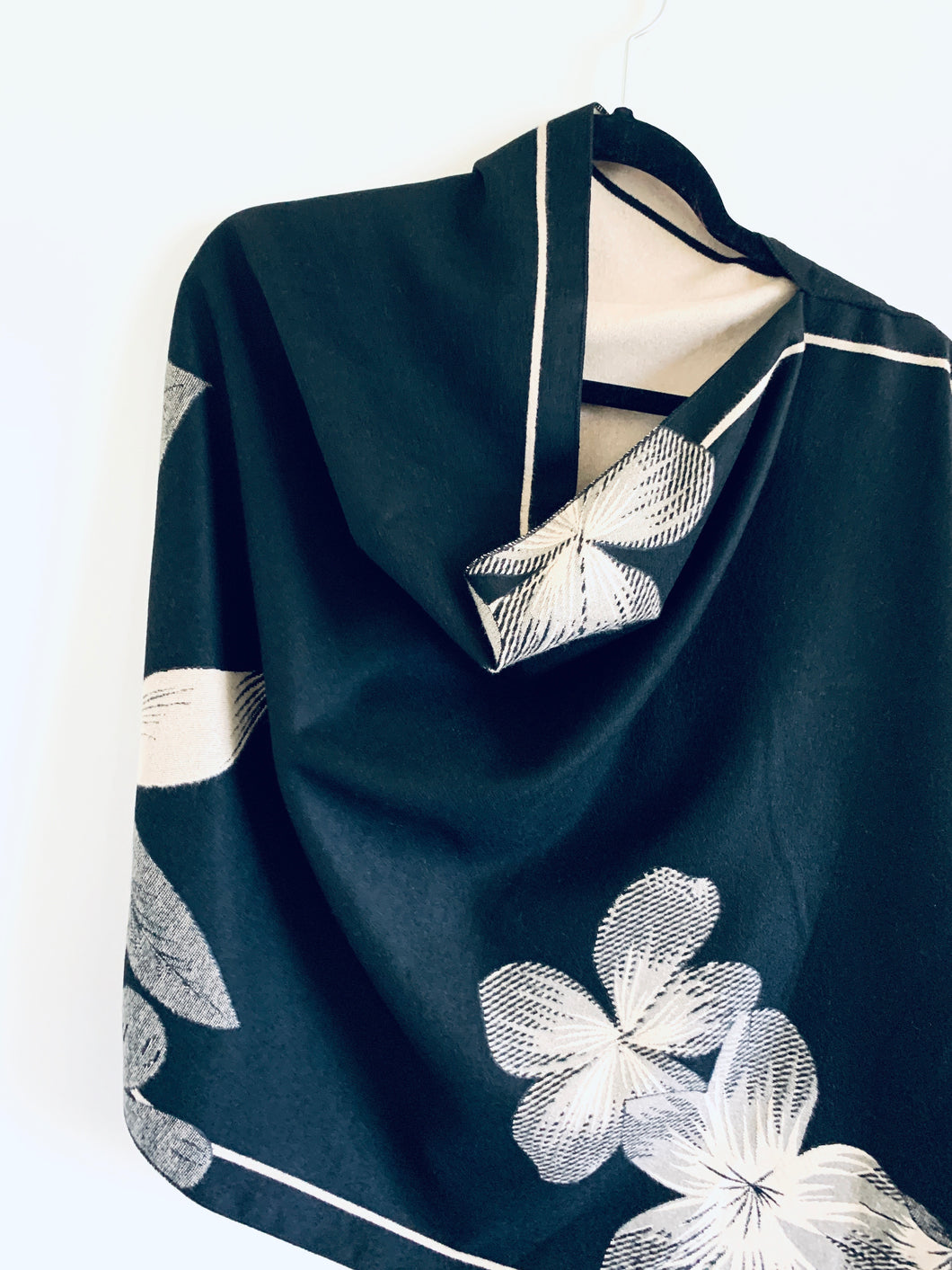 Reversible Black and Cream Floral Cashmere Feel Draped Shawl