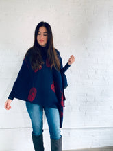 Load image into Gallery viewer, Reversible Navy and Red Cashmere Feel Draped Shawl