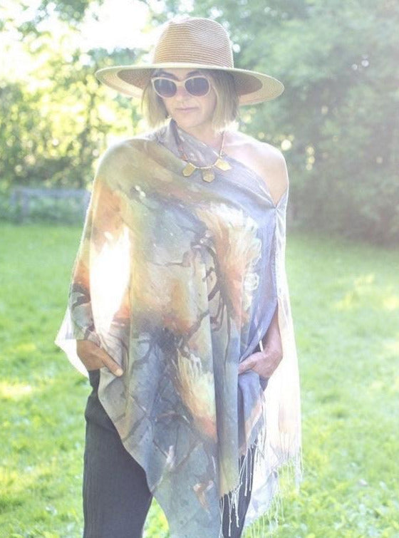 Blue Abstract Watercolour Light Draped Shawl