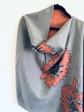 Load image into Gallery viewer, Reversible Light Grey and Pink Floral Cashmere Feel Draped Shawl