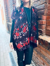 Load image into Gallery viewer, Burgundy Floral Velvet Burnout Slim Fit Kimono