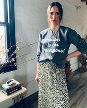 Load image into Gallery viewer, Feminism is for Everyone Matte Charcoal Grey Crew Neck Crop Sweatshirt