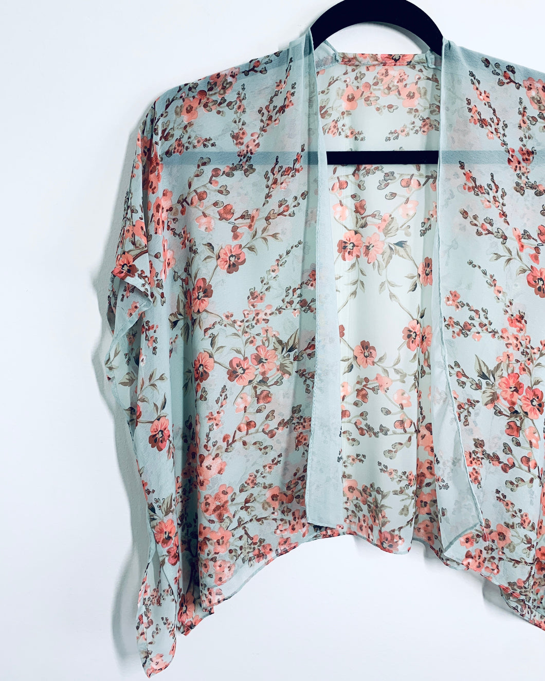 Light Aqua Floral Sheer Cropped Kimono
