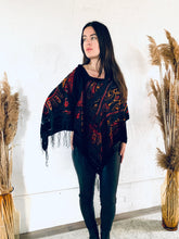 Load image into Gallery viewer, Black, Red and Orange Velvet Burnout Draped Shawl