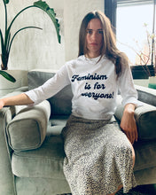 Load image into Gallery viewer, Feminism is for Everyone White Crew Neck Crop 3/4 Sleeve Tee