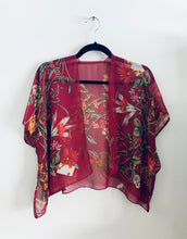 Load image into Gallery viewer, Burgundy Sheer Floral Cropped Kimono