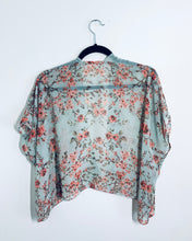 Load image into Gallery viewer, Light Aqua Floral Sheer Cropped Kimono