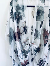 Load image into Gallery viewer, White Floral Sheer Kimono